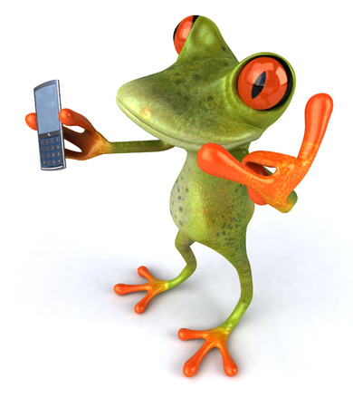 digitally generated image: Cartoon frog with smartphone Stock Photo