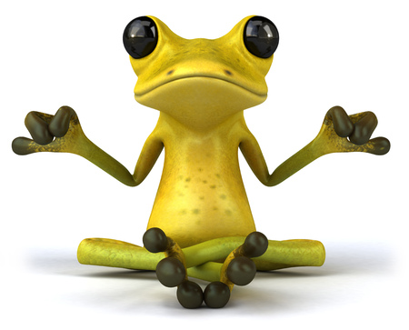 Cartoon frog with meditating pose Banco de Imagens
