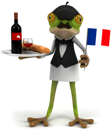 croaking: Cartoon frog as a waiter serving wine and holding flag of France