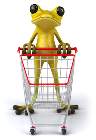 Cartoon frog with shopping cart
