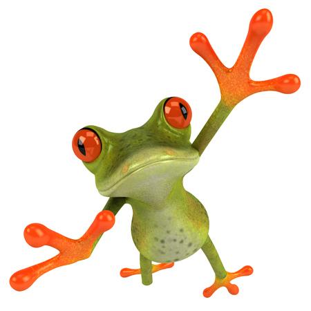 croaking: Cartoon frog leaping