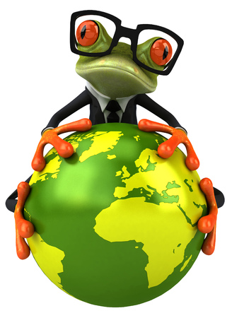 croaking: Cartoon frog in a suit holding earth gobe Stock Photo