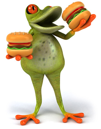 digitally generated image: Cartoon frog eating burgers Stock Photo
