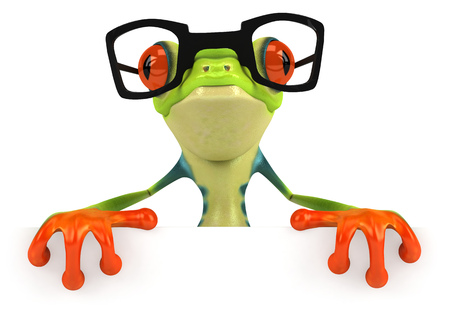 digitally generated image: Cartoon frog with glasses on Stock Photo