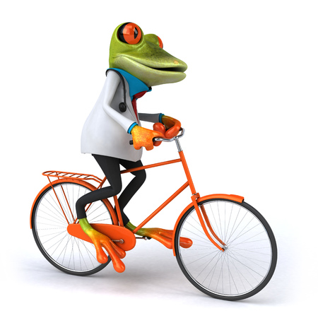 digitally generated image: Cartoon frog in doctor uniform on bicycle Stock Photo