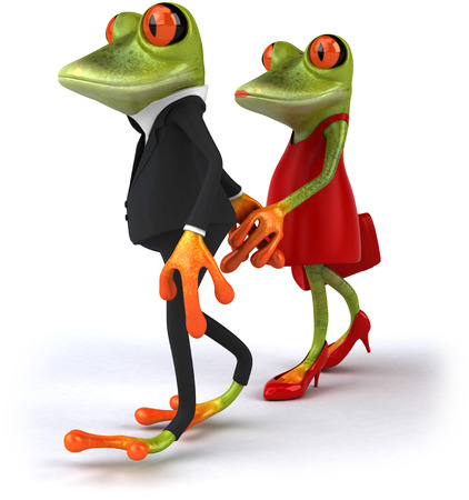 digitally generated image: Cartoon couple of frogs holding hands