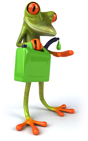 Cartoon frog holding an oil container