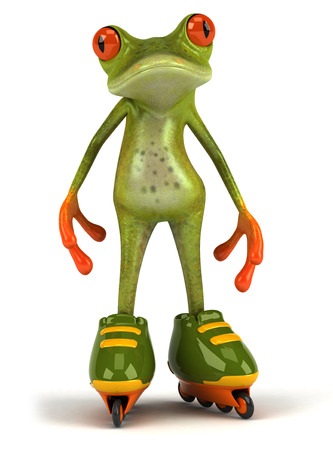 Cartoon frog with roller skates Stock Photo