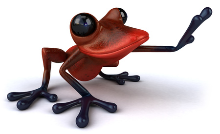 Cartoon frog waving