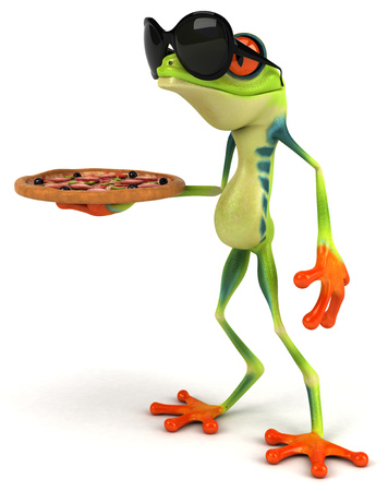 croaking: Cartoon frog with sunglasses holding pizza
