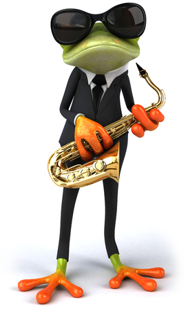 Cartoon frog in a suit playing saxophone