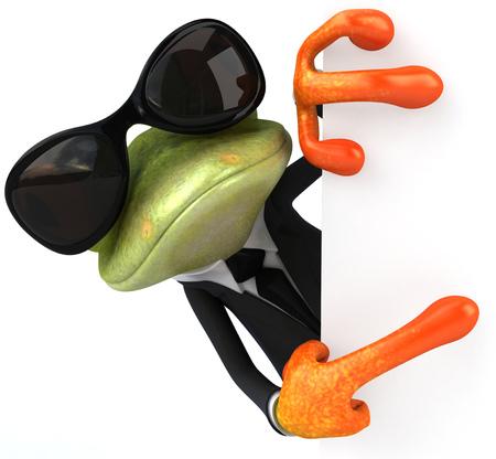 선글라스로 양복에 만화 개구리