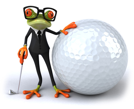 Cartoon frog in a suit with big golf ball