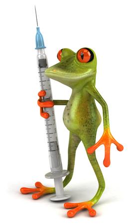 Cartoon frog with a syringe