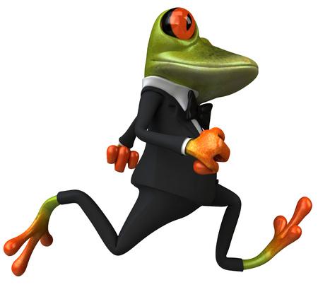 croaking: Cartoon frog in a suit running
