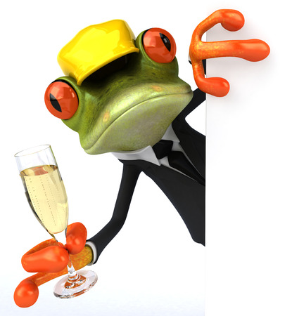 Cartoon frog in a suit holding glass of champagne Stock Photo