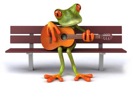 croaking: Cartoon frog sitting on wooden bench playing guitar Stock Photo