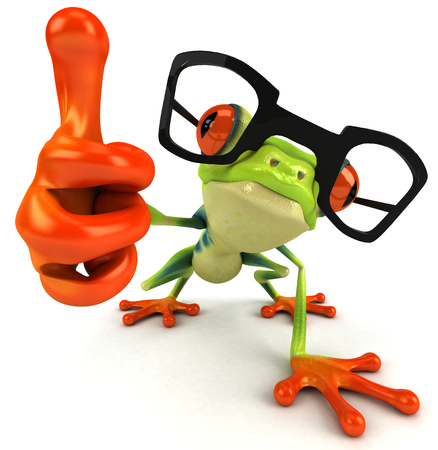 Cartoon frog with glasses showing thumbs up