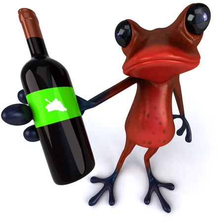 Cartoon frog with wine bottle
