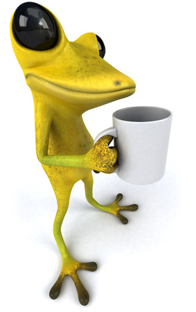 digitally generated image: Cartoon frog with a mug Stock Photo