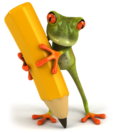 croaking: Cartoon frog with a pencil Stock Photo