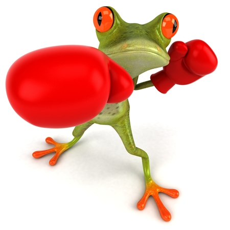 padding: Cartoon frog with boxing gloves