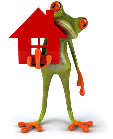 digitally generated image: Cartoon frog with a house