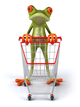 digitally generated image: Cartoon frog with shopping cart
