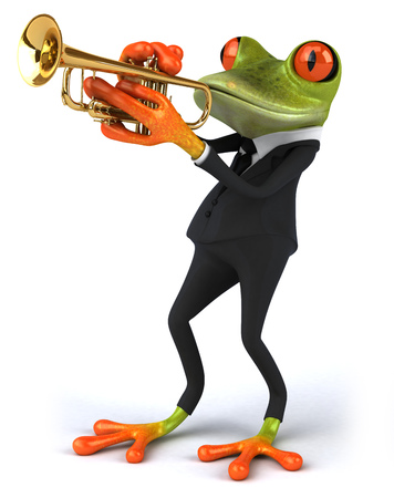 Cartoon frog in a suit playing trumpet