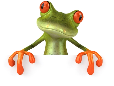 Cartoon frog posing