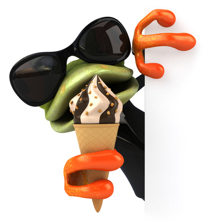 Cartoon frog in a suit eating ice cream