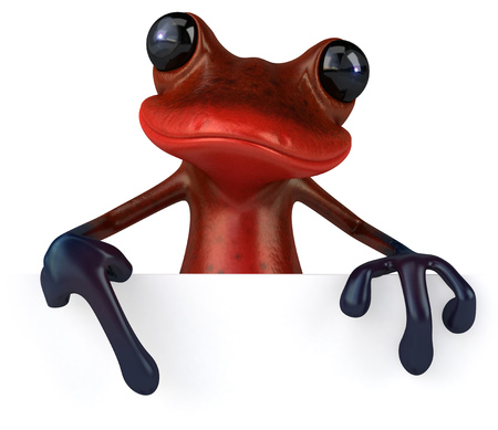 Cartoon frog is pointing