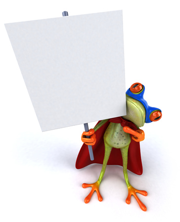 Cartoon frog in superhero costume holding signboard