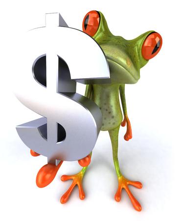 croaking: Cartoon frog with dollar sign