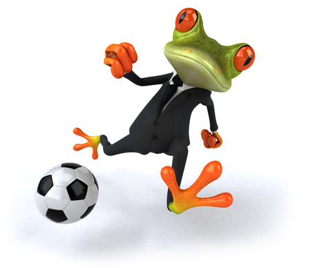 Cartoon frog in a suit with soccer ball Stok Fotoğraf