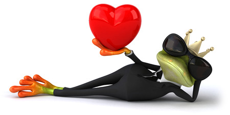 Cartoon frog in a suit with crown holding heart shape Stock Photo
