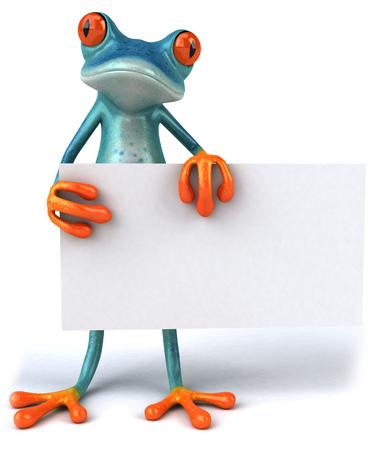 Cartoon frog holding a placard