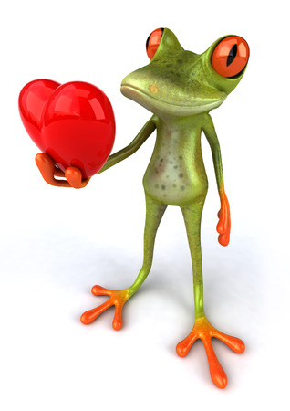 digitally generated image: Cartoon frog is holding a heart shape Stock Photo