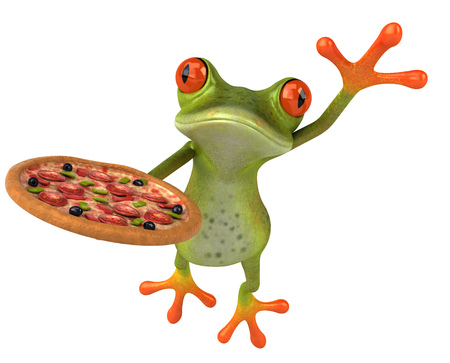 Cartoon frog with pizza