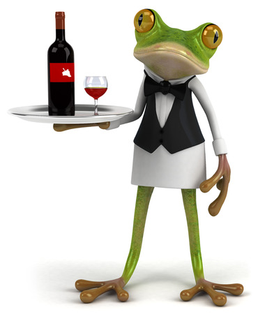 Cartoon frog as a waiter serving wine Stock Photo