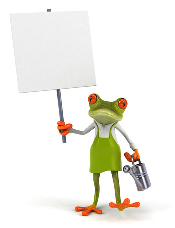 じょうろや看板漫画カエル 写真素材 - 80690772