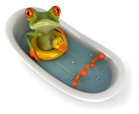 욕조에 만화 개구리
