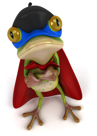 Cartoon frog in superhero costume
