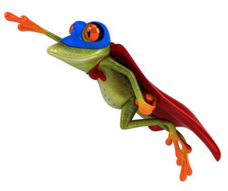 Cartoon frog in superhero costume