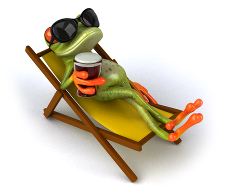 Cartoon frog relaxing on deckchair with beer