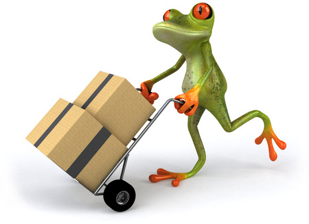 Cartoon frog pushing trolley with boxes