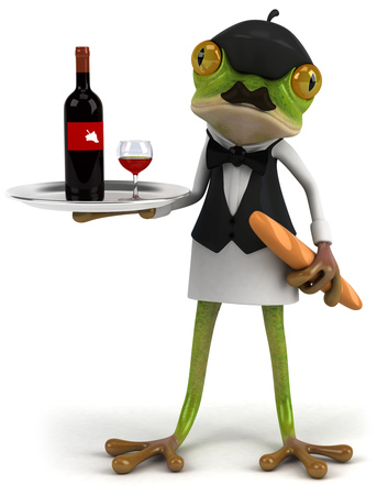 digitally generated image: Cartoon frog as a waiter serving wine and baguette