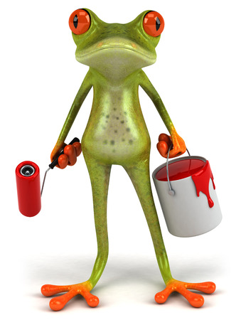 digitally generated image: Cartoon frog with paint roller and paint bucket