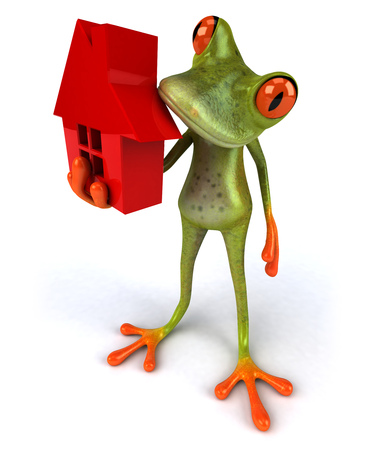 croaking: Cartoon frog with house concept Stock Photo