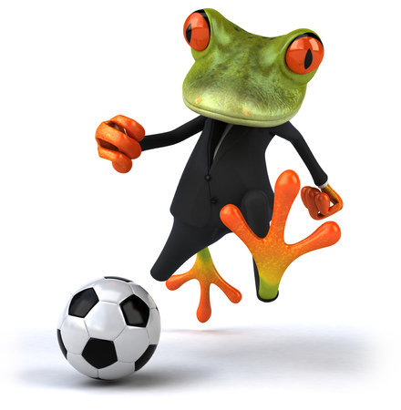 Cartoon frog playing soccer